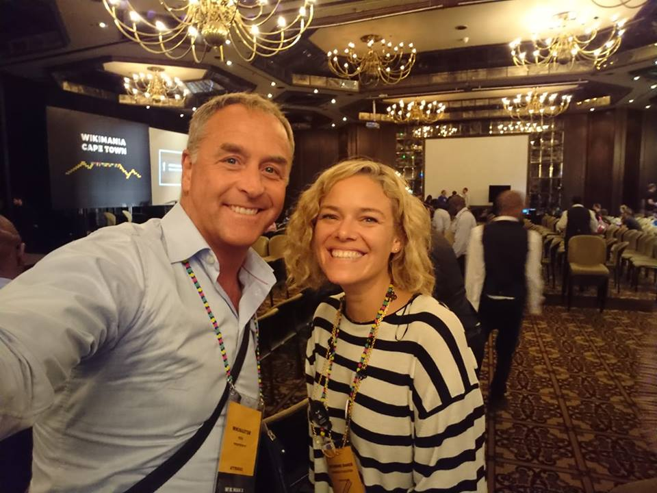 Erik Bolinder and Katherine Mayer at WikiMania 2018 in Capetown